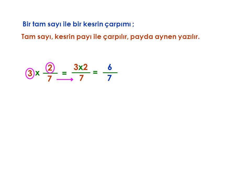 2 3x2 6 3 x = = 7 7 7 Bir tam sayı ile bir kesrin çarpımı ;