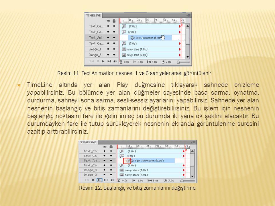 Resim 11. Text Animation nesnesi 1 ve 6 saniyeler arası görüntülenir.