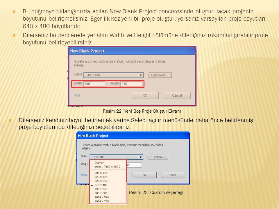 Bu düğmeye tıkladığınızda açılan New Blank Project penceresinde oluşturulacak projenin boyutunu belirlemelisiniz. Eğer ilk kez yeni bir proje oluşturuyorsanız varsayılan proje boyutları 640 x 480 boyutlarıdır.