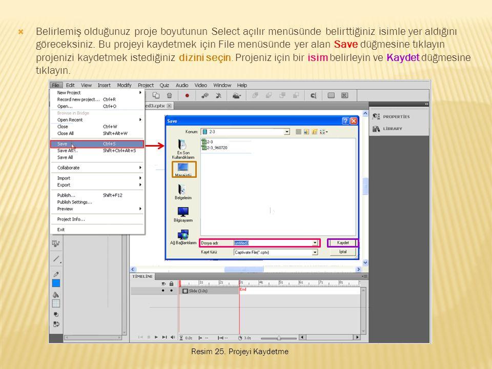 Belirlemiş olduğunuz proje boyutunun Select açılır menüsünde belirttiğiniz isimle yer aldığını göreceksiniz. Bu projeyi kaydetmek için File menüsünde yer alan Save düğmesine tıklayın projenizi kaydetmek istediğiniz dizini seçin. Projeniz için bir isim belirleyin ve Kaydet düğmesine tıklayın.
