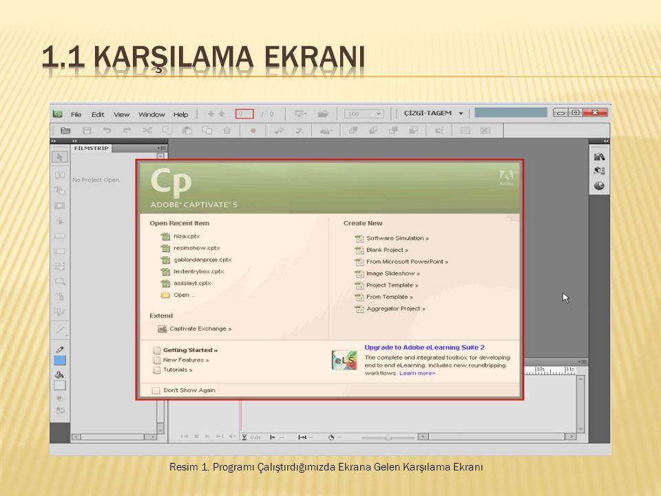 1.1 KarşIlama EkranI Resim 1. Programı Çalıştırdığımızda Ekrana Gelen Karşılama Ekranı