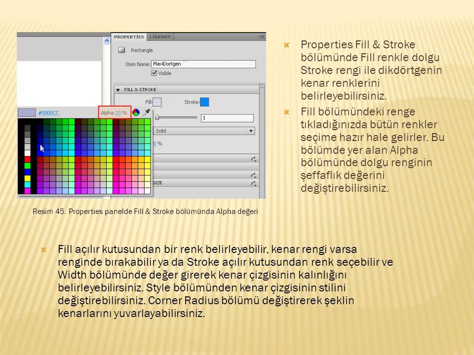 Properties Fill & Stroke bölümünde Fill renkle dolgu Stroke rengi ile dikdörtgenin kenar renklerini belirleyebilirsiniz.