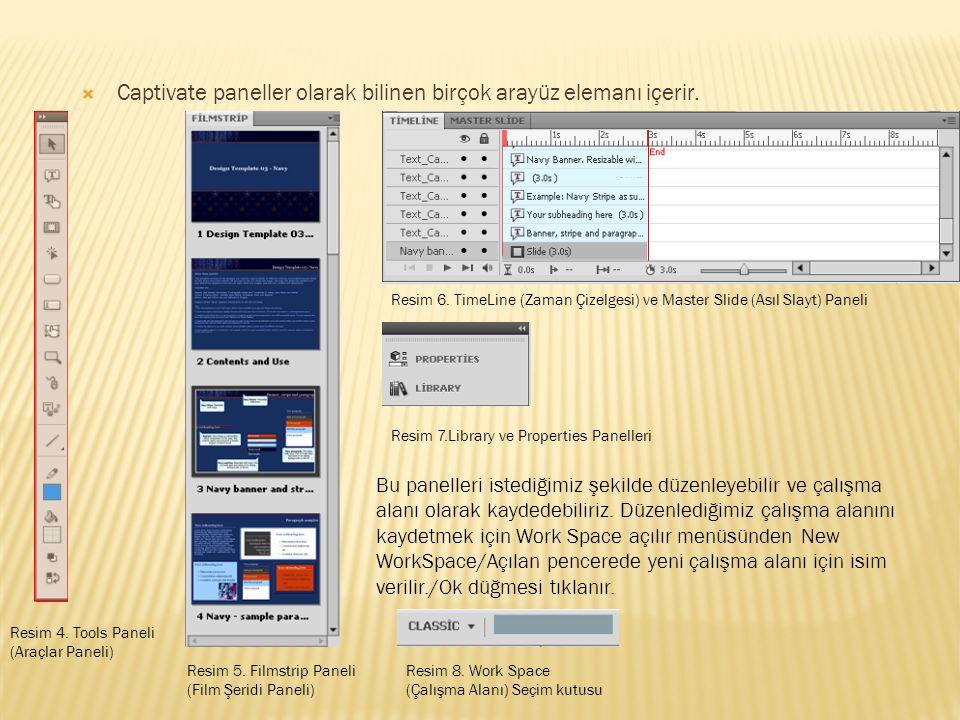 Captivate paneller olarak bilinen birçok arayüz elemanı içerir.