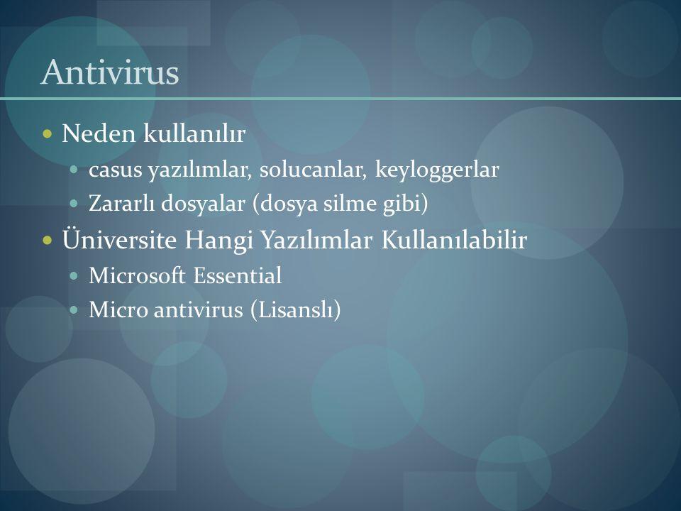 Antivirus Neden kullanılır Üniversite Hangi Yazılımlar Kullanılabilir