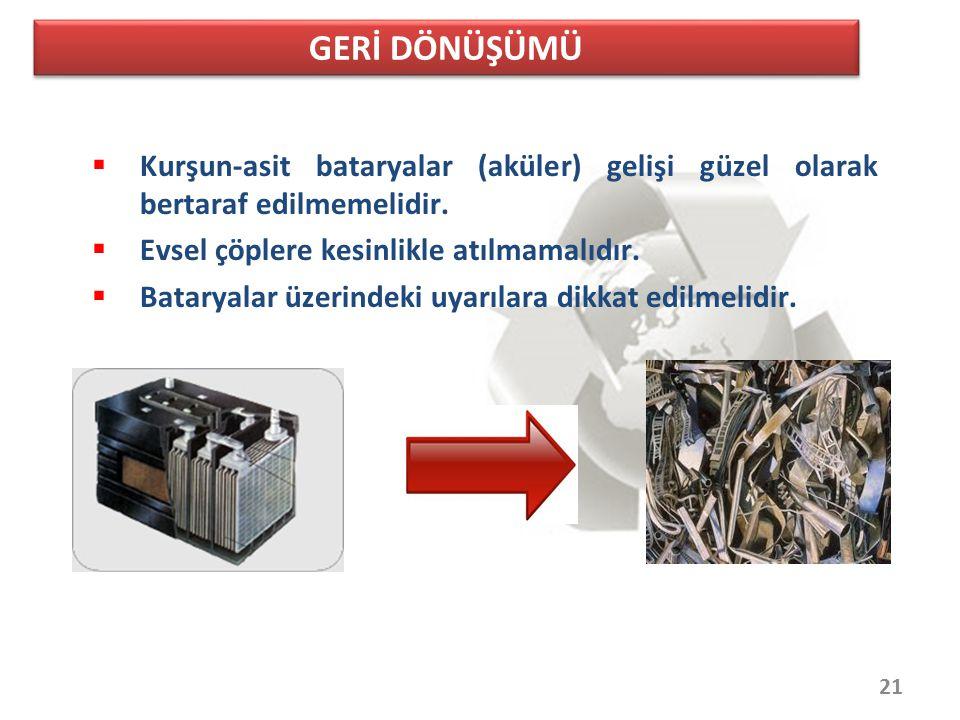 GERİ DÖNÜŞÜMÜ Kurşun-asit bataryalar (aküler) gelişi güzel olarak bertaraf edilmemelidir. Evsel çöplere kesinlikle atılmamalıdır.