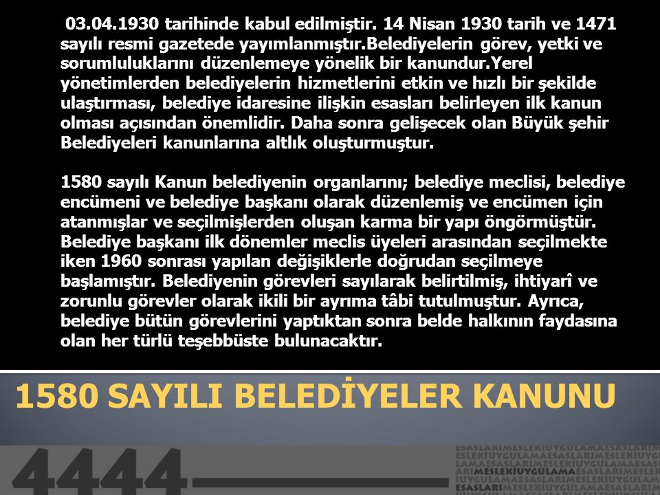 1580 SAYILI BELEDİYELER KANUNU