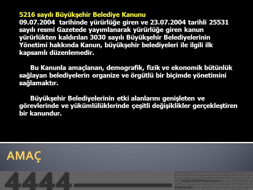 AMAÇ 5216 sayılı Büyükşehir Belediye Kanunu