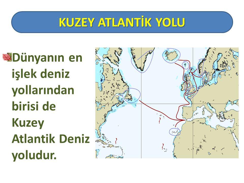 KUZEY ATLANTİK YOLU Dünyanın en işlek deniz yollarından birisi de Kuzey Atlantik Deniz yoludur.