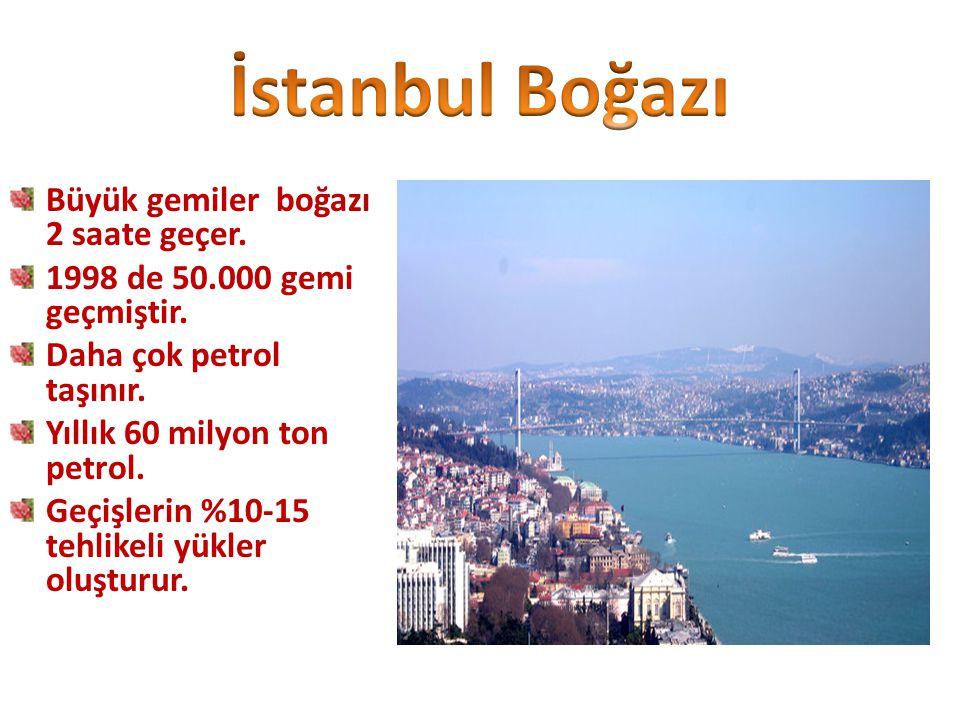 İstanbul Boğazı Büyük gemiler boğazı 2 saate geçer.