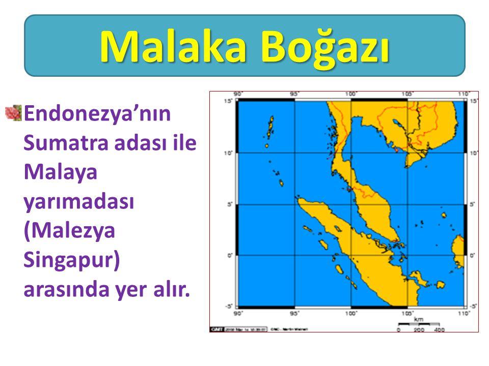 Malaka Boğazı Endonezya'nın Sumatra adası ile Malaya yarımadası (Malezya Singapur) arasında yer alır.