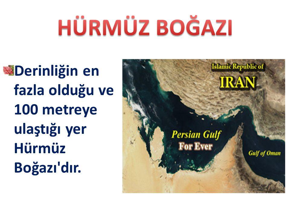 HÜRMÜZ BOĞAZI Derinliğin en fazla olduğu ve 100 metreye ulaştığı yer Hürmüz Boğazı dır.