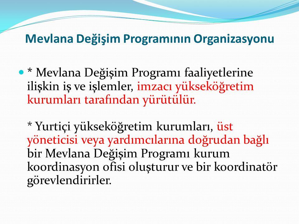 Mevlana Değişim Programının Organizasyonu