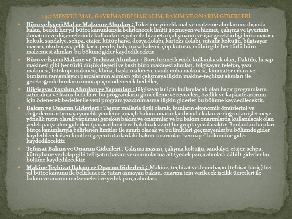 03.7 MENKUL MAL, GAYRİMADDİ HAK ALIM, BAKIM VE ONARIM GİDERLERİ
