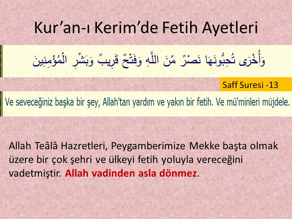 Kur'an-ı Kerim'de Fetih Ayetleri