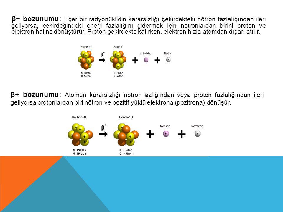 β− bozunumu: Eğer bir radyonüklidin kararsızlığı çekirdekteki nötron fazlalığından ileri geliyorsa, çekirdeğindeki enerji fazlalığını gidermek için nötronlardan birini proton ve elektron haline dönüştürür. Proton çekirdekte kalırken, elektron hızla atomdan dışarı atılır.