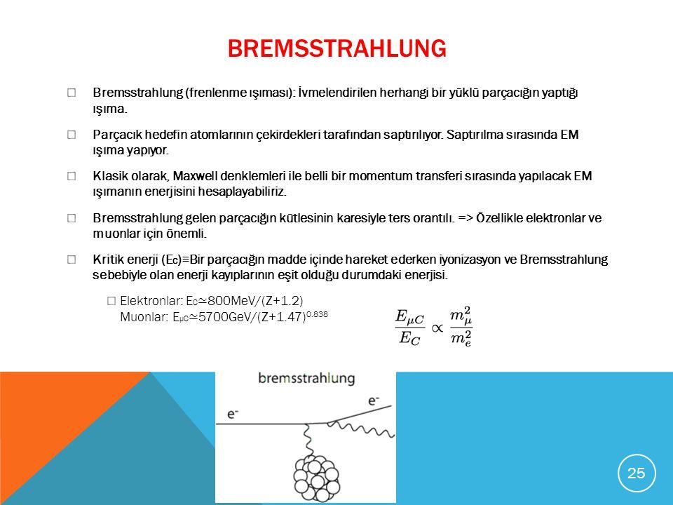 Bremsstrahlung Bremsstrahlung (frenlenme ışıması): İvmelendirilen herhangi bir yüklü parçacığın yaptığı ışıma.