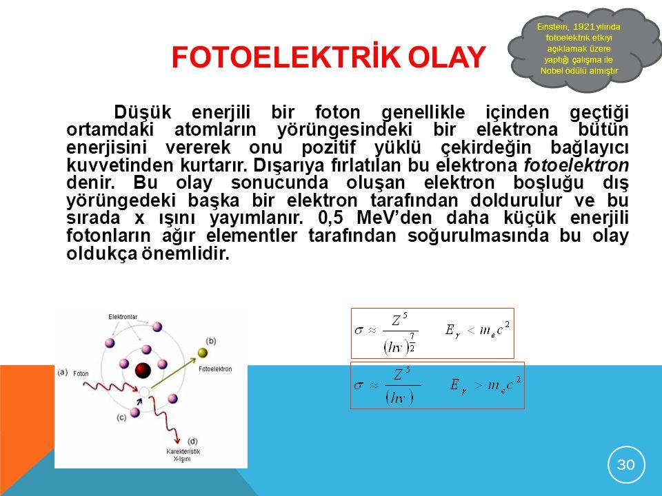 Einstein, 1921 yılında fotoelektrik etkiyi açıklamak üzere yaptığı çalışma ile Nobel ödülü almıştır