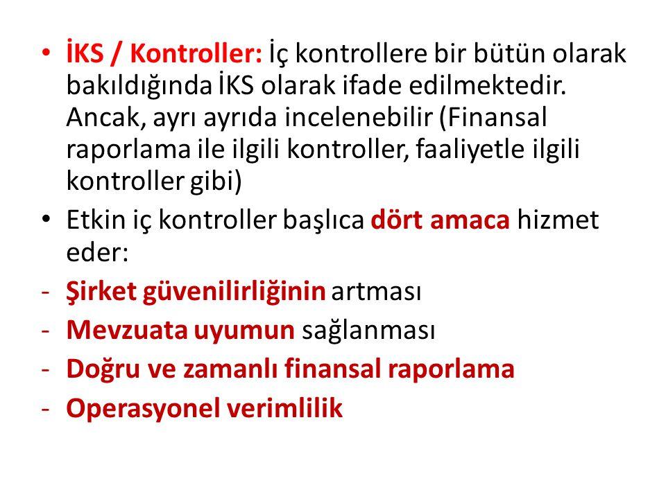 İKS / Kontroller: İç kontrollere bir bütün olarak bakıldığında İKS olarak ifade edilmektedir. Ancak, ayrı ayrıda incelenebilir (Finansal raporlama ile ilgili kontroller, faaliyetle ilgili kontroller gibi)