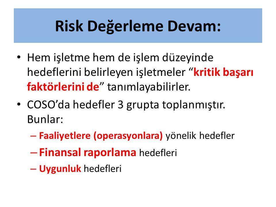 Risk Değerleme Devam: Hem işletme hem de işlem düzeyinde hedeflerini belirleyen işletmeler kritik başarı faktörlerini de tanımlayabilirler.