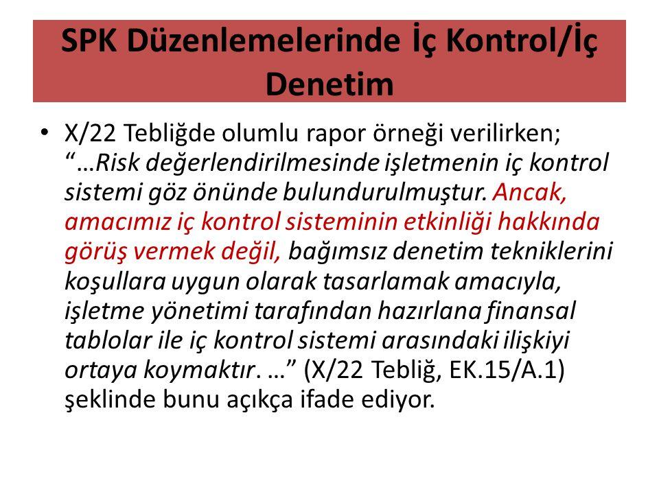 SPK Düzenlemelerinde İç Kontrol/İç Denetim