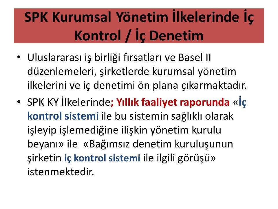 SPK Kurumsal Yönetim İlkelerinde İç Kontrol / İç Denetim