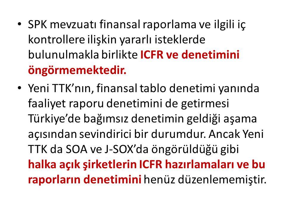 SPK mevzuatı finansal raporlama ve ilgili iç kontrollere ilişkin yararlı isteklerde bulunulmakla birlikte ICFR ve denetimini öngörmemektedir.