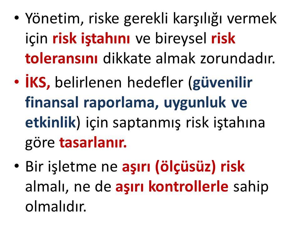Yönetim, riske gerekli karşılığı vermek için risk iştahını ve bireysel risk toleransını dikkate almak zorundadır.