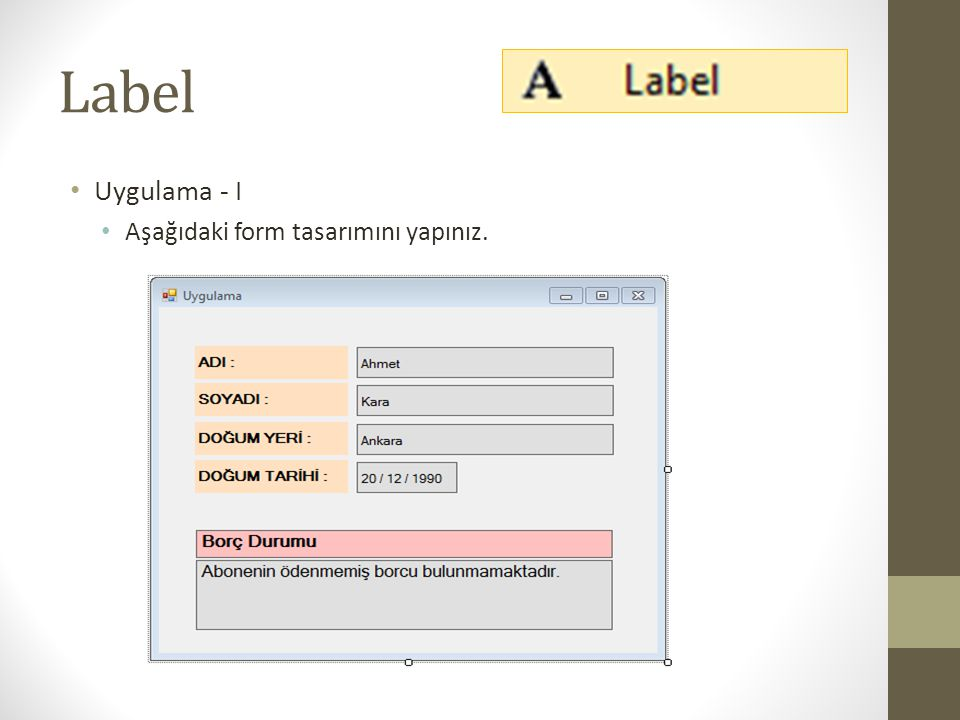 Label Uygulama - I Aşağıdaki form tasarımını yapınız.