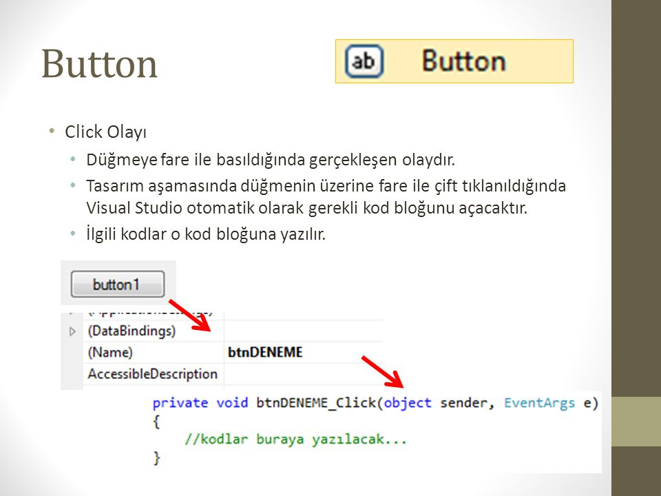 Button Click Olayı Düğmeye fare ile basıldığında gerçekleşen olaydır.