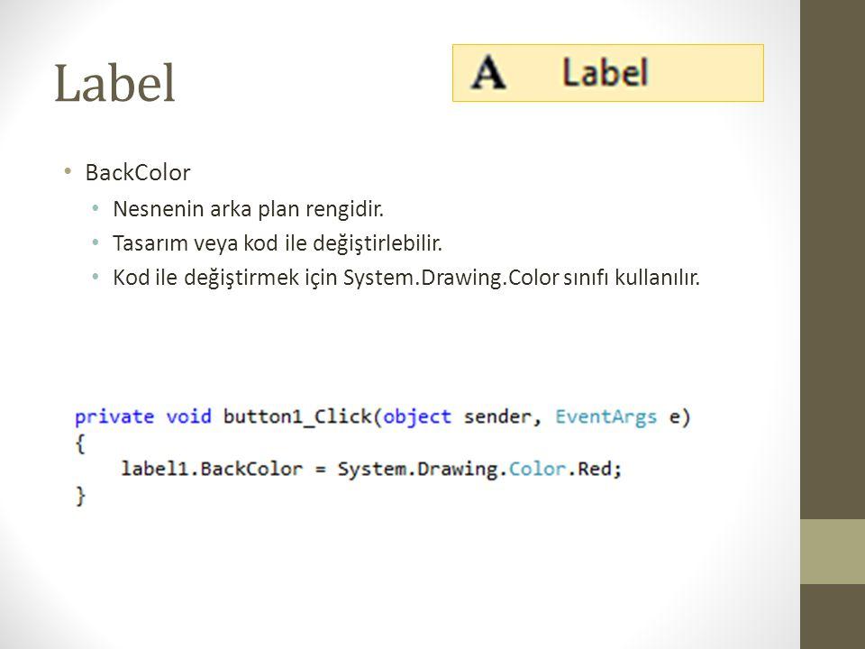Label BackColor Nesnenin arka plan rengidir.