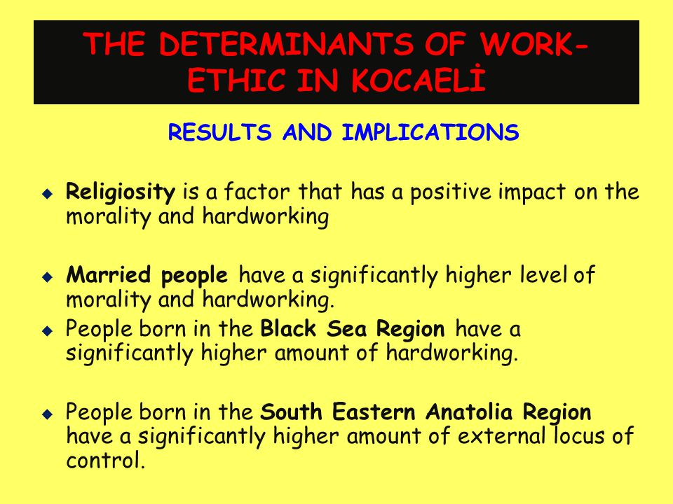 THE DETERMINANTS OF WORK-ETHIC IN KOCAELİ
