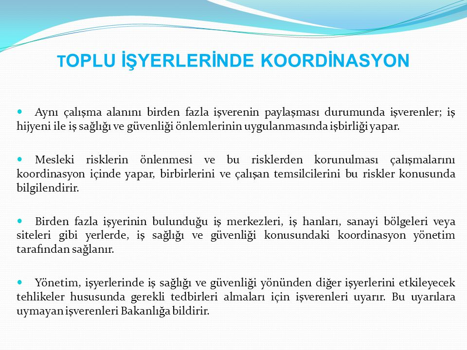 TOPLU İŞYERLERİNDE KOORDİNASYON
