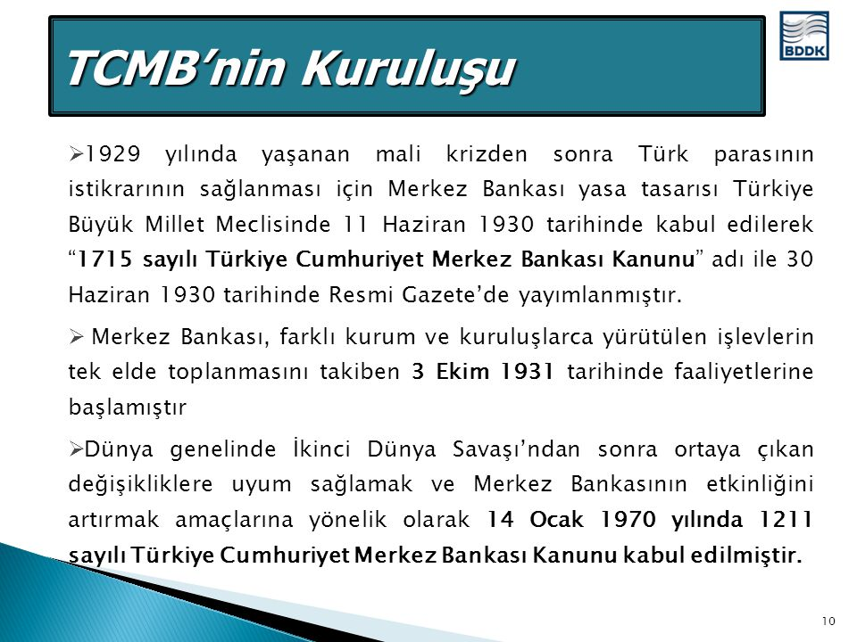 TCMB'nin Kuruluşu