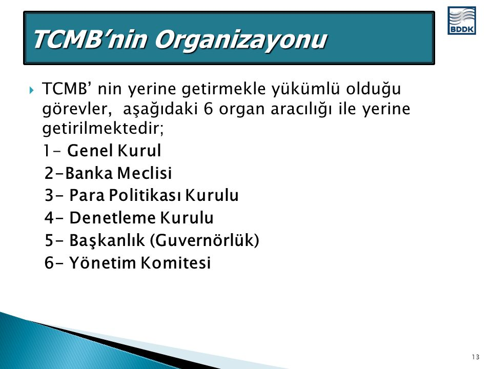 TCMB'nin Organizayonu