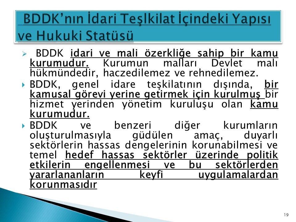 BDDK'nın İdari Teşlkilat İçindeki Yapısı ve Hukuki Statüsü