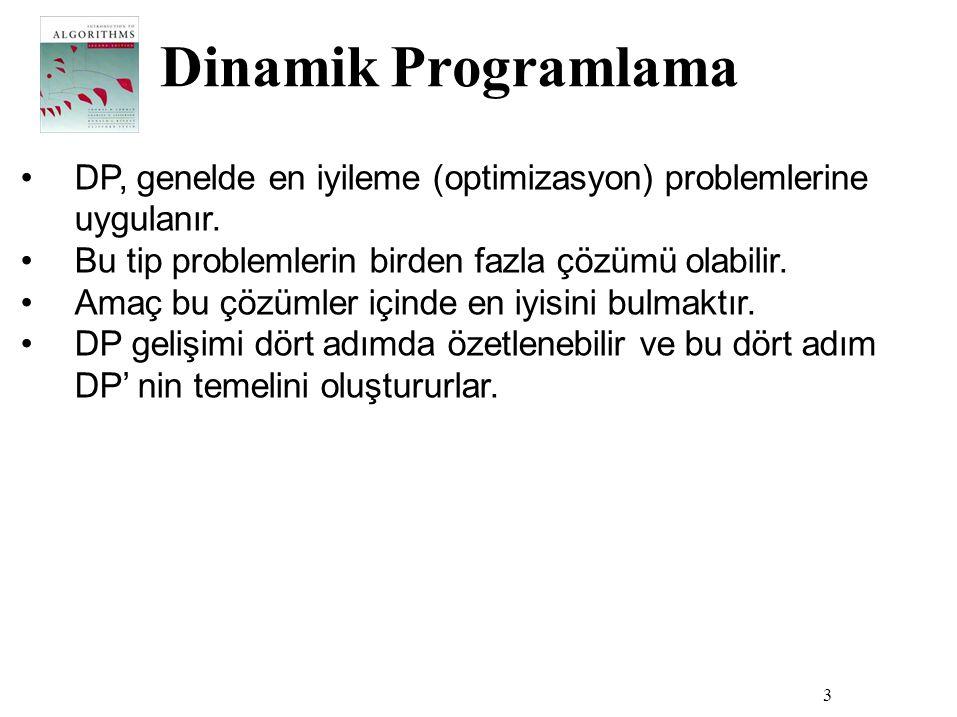 Dinamik Programlama DP, genelde en iyileme (optimizasyon) problemlerine uygulanır. Bu tip problemlerin birden fazla çözümü olabilir.