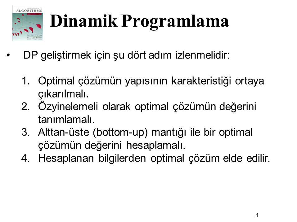 Dinamik Programlama DP geliştirmek için şu dört adım izlenmelidir: