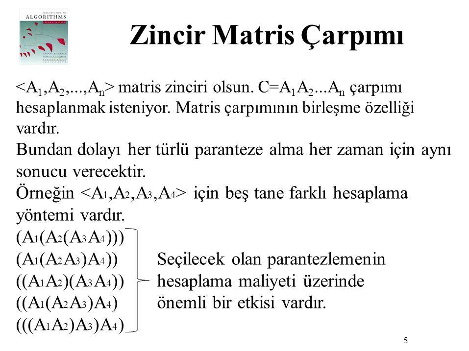 Zincir Matris Çarpımı <A1,A2,...,An> matris zinciri olsun. C=A1A2...An çarpımı hesaplanmak isteniyor. Matris çarpımının birleşme özelliği vardır.