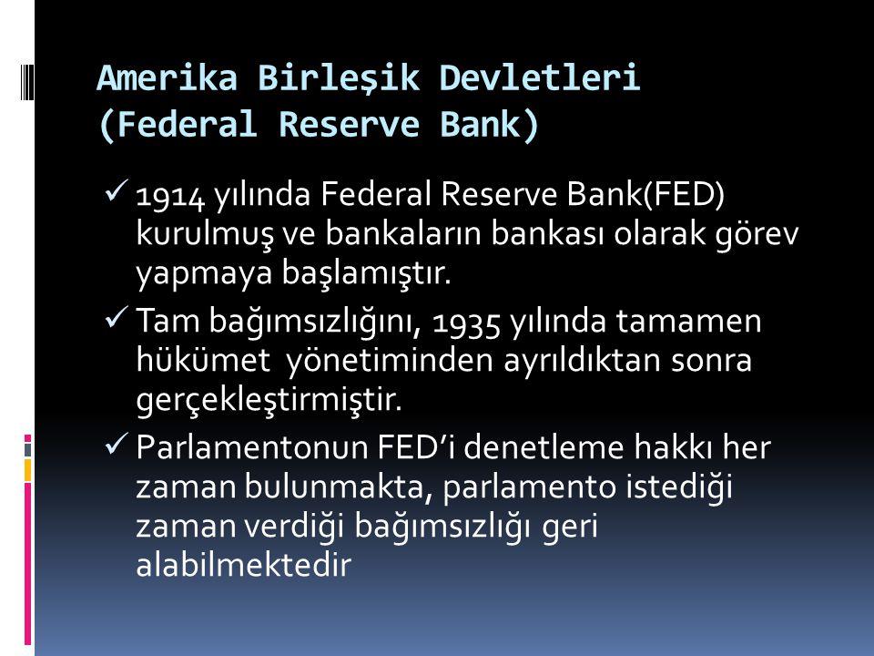 Amerika Birleşik Devletleri (Federal Reserve Bank)