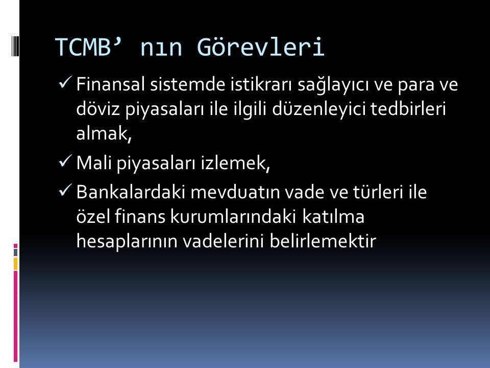 TCMB' nın Görevleri Finansal sistemde istikrarı sağlayıcı ve para ve döviz piyasaları ile ilgili düzenleyici tedbirleri almak,