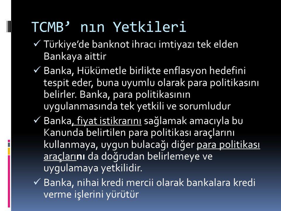 TCMB' nın Yetkileri Türkiye'de banknot ihracı imtiyazı tek elden Bankaya aittir.