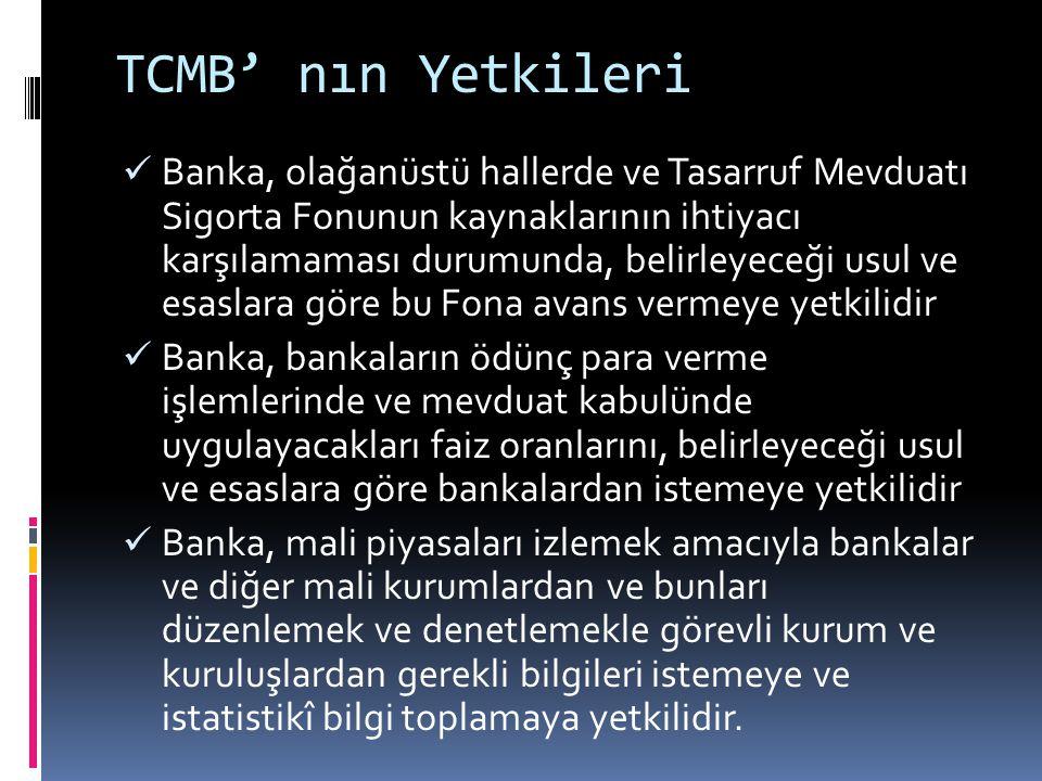 TCMB' nın Yetkileri