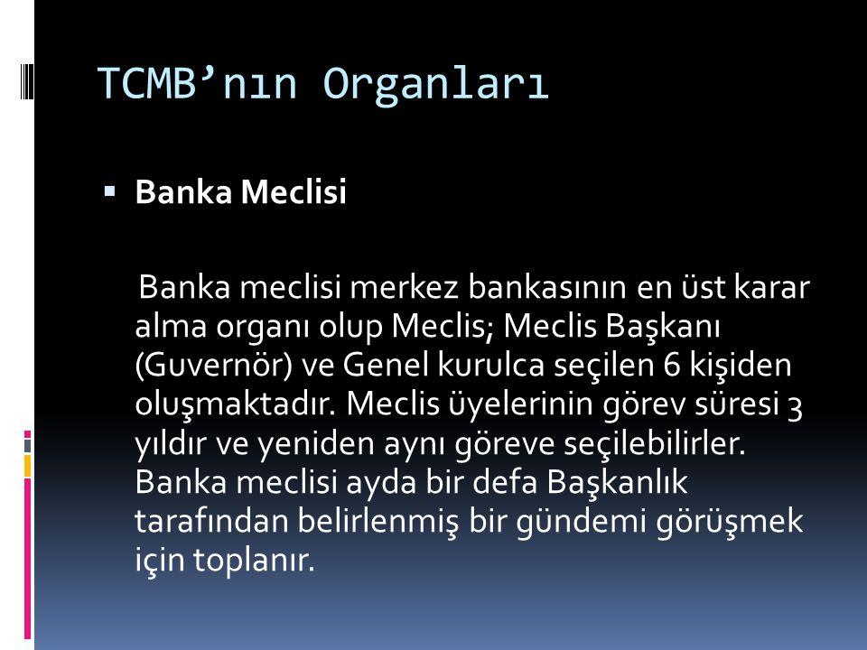 TCMB'nın Organları Banka Meclisi