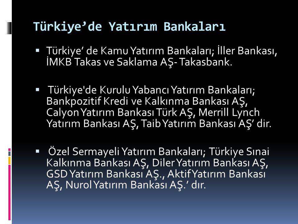 Türkiye'de Yatırım Bankaları