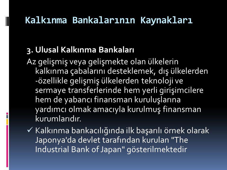 Kalkınma Bankalarının Kaynakları