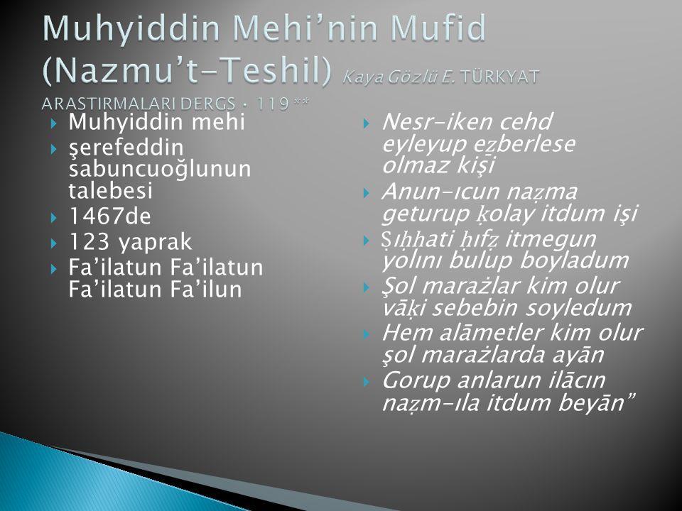 Muhyiddin Mehi'nin Mufid (Nazmu't-Teshil) Kaya Gözlü E