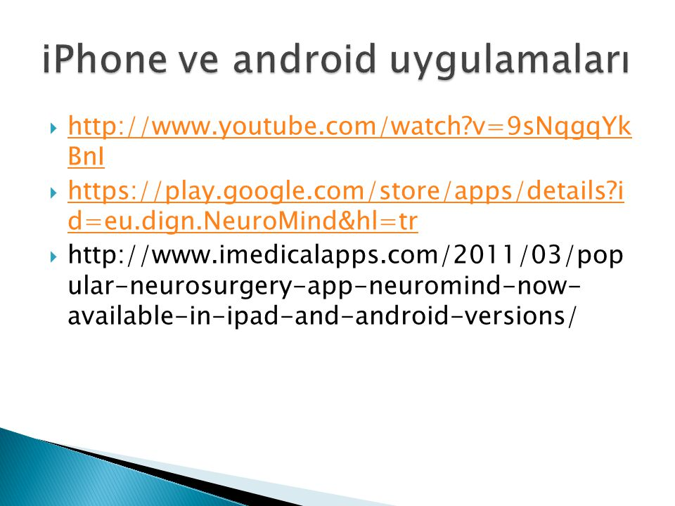 iPhone ve android uygulamaları