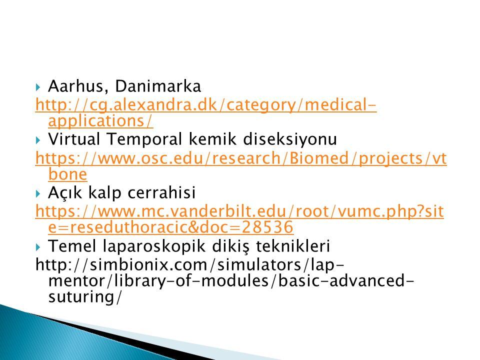 Aarhus, Danimarka http://cg.alexandra.dk/category/medical- applications/ Virtual Temporal kemik diseksiyonu.