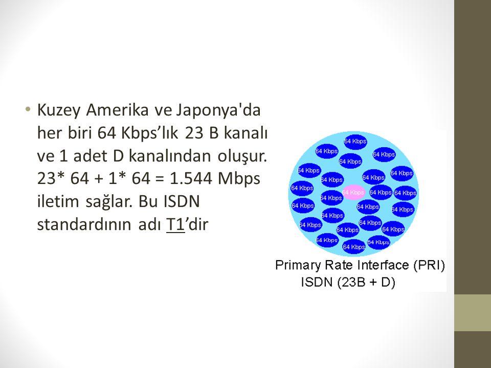 Kuzey Amerika ve Japonya da her biri 64 Kbps'lık 23 B kanalı ve 1 adet D kanalından oluşur.