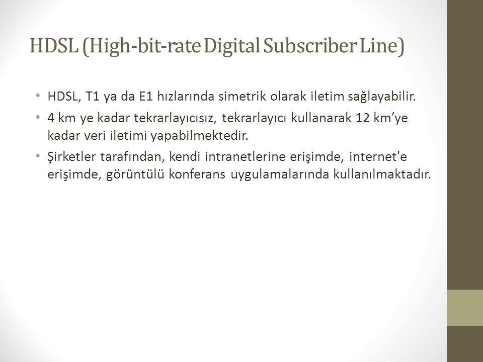 HDSL (High-bit-rate Digital Subscriber Line)